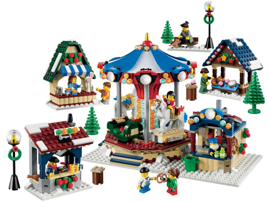 LEGO Kerstdorp - Draaimolen en kraampjes